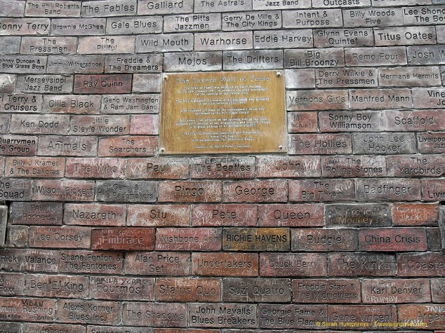 The Cavern Wall of Fame, featuring names of famous musicians who have played at the Club