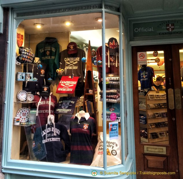 University of Cambridge gear in store on King's Parade