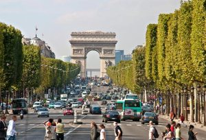 Arc de Triomphe and Champs Elysees