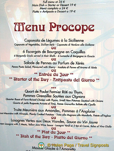 Cafe Procope Paris Menu