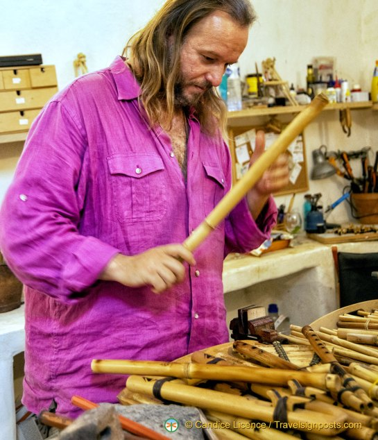 Yannis describing how he makes a flute