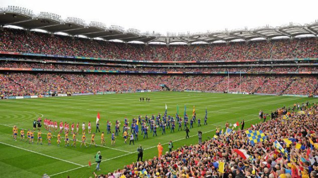 The 82,300-seater stadium at full capacity as two opposing teams parade ahead of the All-Ireland final. Photo from http://www.cualagaa.ie/cuala-hurling-all-ireland-arrangements/
