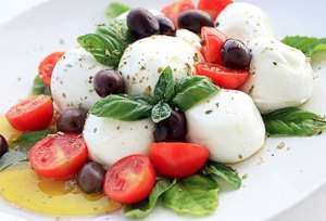 The best insalata caprese is made with mozzarella di bufala