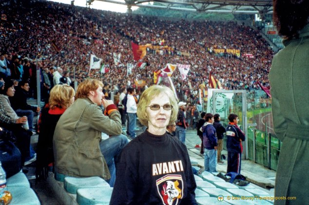 Carole Morey, author's mother, with Curva Sud in background
