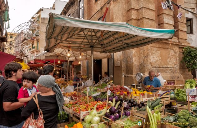 "La Vucciria, meaning ""voices"" or ""hubbub"" is certainly Palermo's scruffiest market"