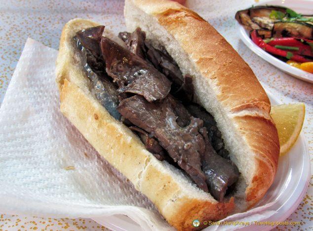 Pani Ca' Meusa, basically a spleen burger, a real speciality of Palermo