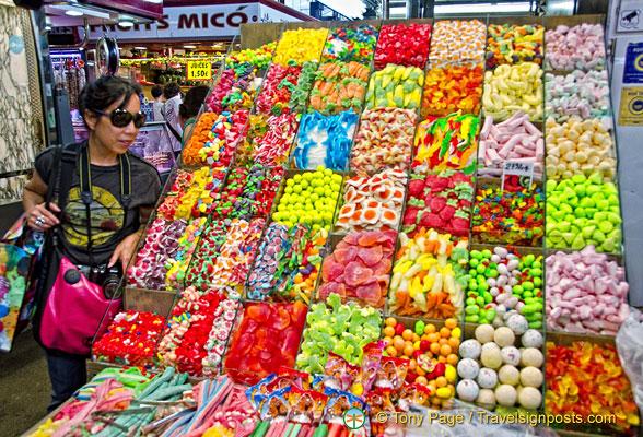 Sweet stall at La Boqueria