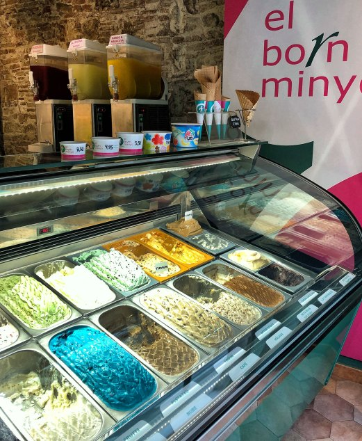 Delicious, colorful gelato display at El Born Minyo Gelateria near Museu Picasso.