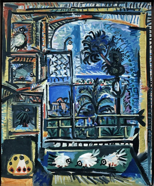 The lush colours of a pigeon painting by Pablo Picasso, painted in 1957.