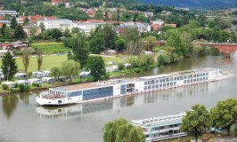 A European River Boat cruises Main River at Miltenberg