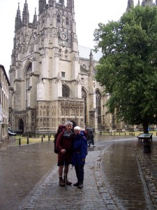 Pilgrims outside Canterbury Cathedral