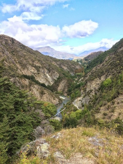 Descent from Sawpit Gully toward the Arrow River in Arrowtown
