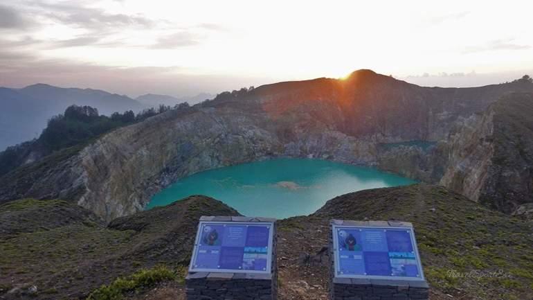 Besteigung Vulkan Kelimutu Flores Indonesien Sonnenaufgang
