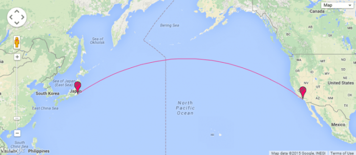 Flight path for Tokyo to Los Angeles - arrive before you depart