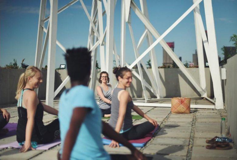 yoga curiocity hostel roof joburg