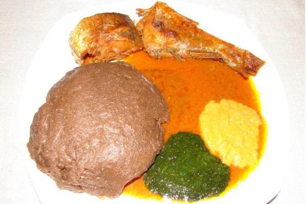 Amala and Ewedu and fish Stew