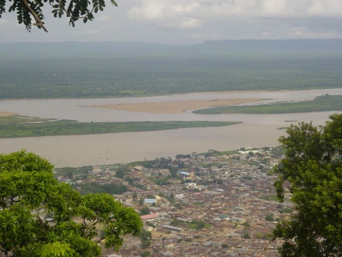 The confluence of the Niger and Benue rivers, Lokoja in the foreground.