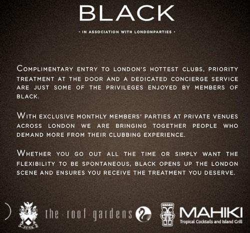 BLACK nightlife concierge service