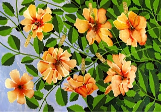 A beautiful example of botanical art with orange hibiscus