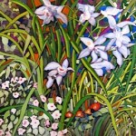 A beautiful painting of blue orchids