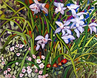A beautiful painting of blue orchids, a great example of botanical art.
