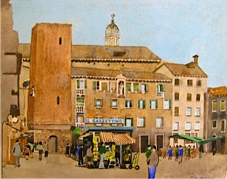 A campo in Venice painted while sipping a cappacino in our favorite cafe