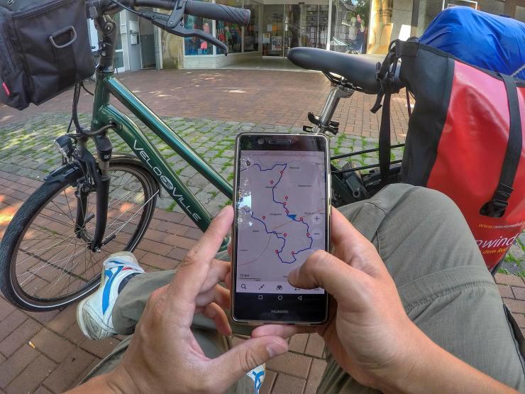 Navigations-App am Fahrrad