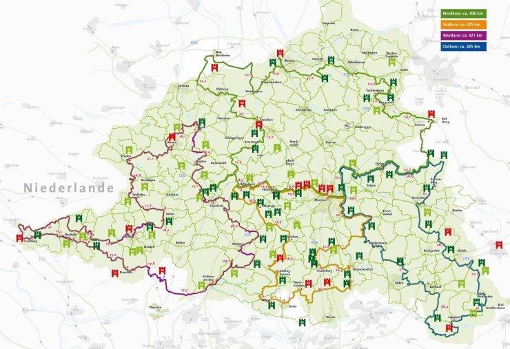 Ost-, Nord, Süd- und Westkurs der 100 Schlösser Route