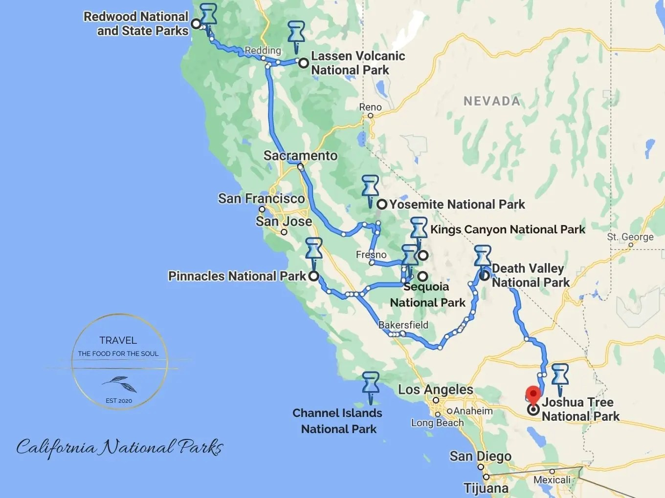 California National Parks Map