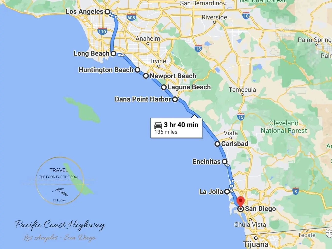 Pacific Coast Highway Attractions Map | Los Angeles To San Diego