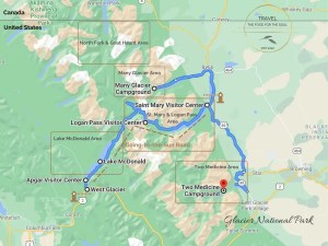 Glacier National Park Attractions Map