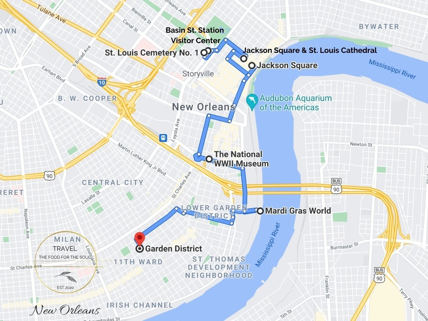 New Orleans Attractions Map