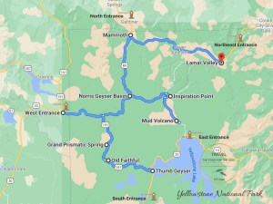 Yellowstone National Park Attractions Map