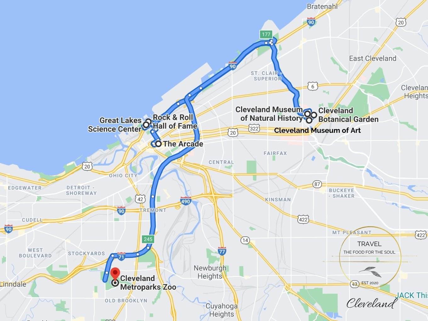 Cleveland Attractions Map