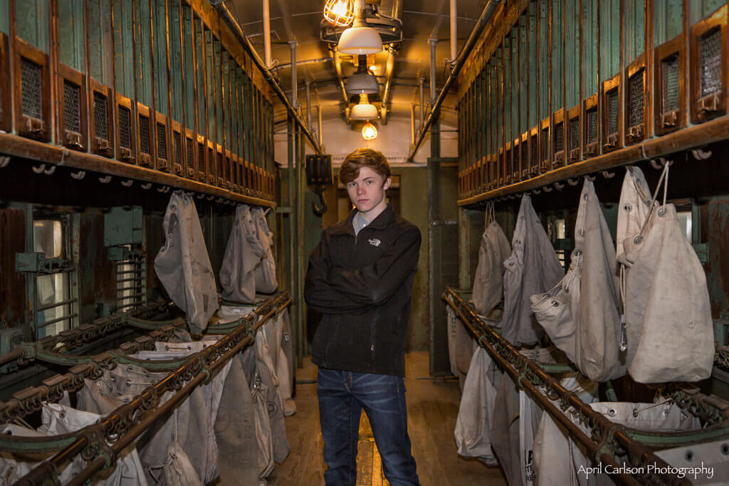 Touring Southeastern Railway Museum: Inside Old Railway Mail Car with Young Man