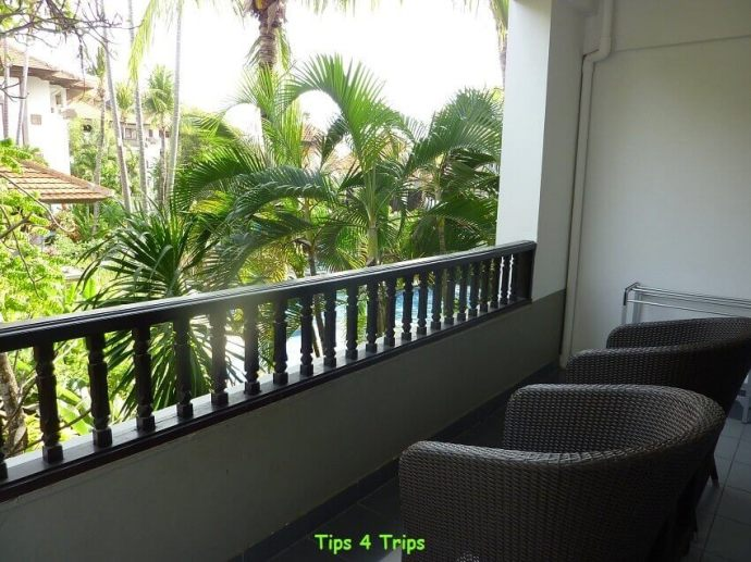 The balcony in the 2 bedroom balcony suite at Sanur Paradise Plaza Suites Bali