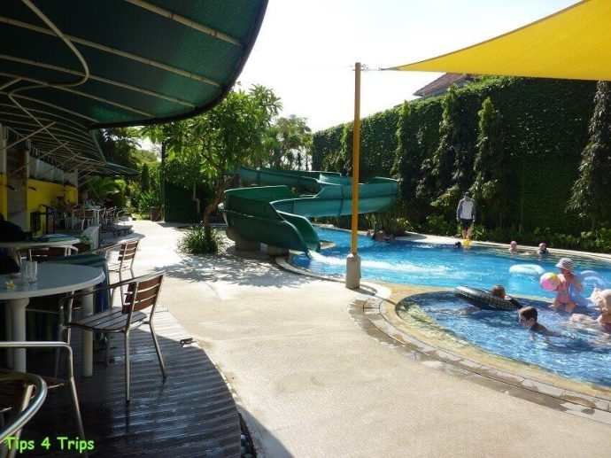Reviewing the water slide and toddler pools at Sanur Paradise Plaza Suites