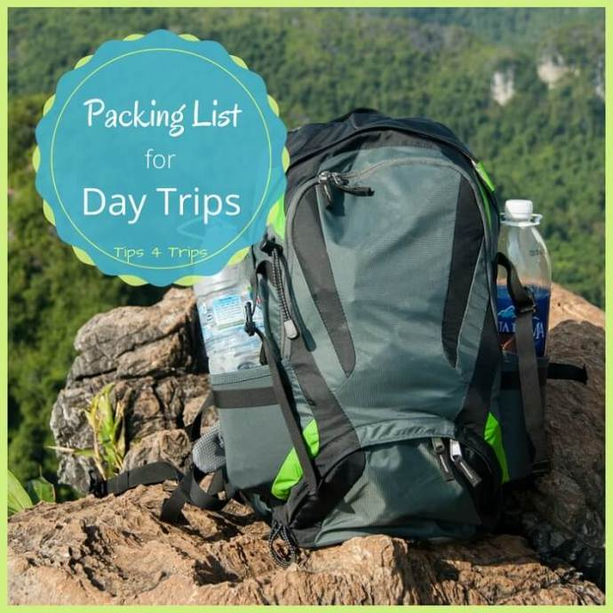 A packing checklist for your day pack when taking a day trip on holiday or at home.