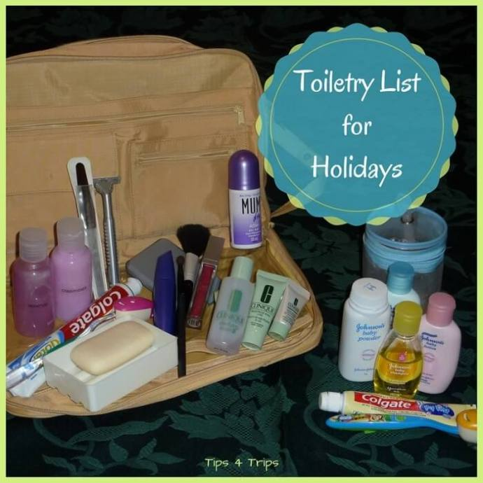 A travel toiletries list for holidays. Use this holiday packing checklist to know which toiletries you need to pack for a vacation.