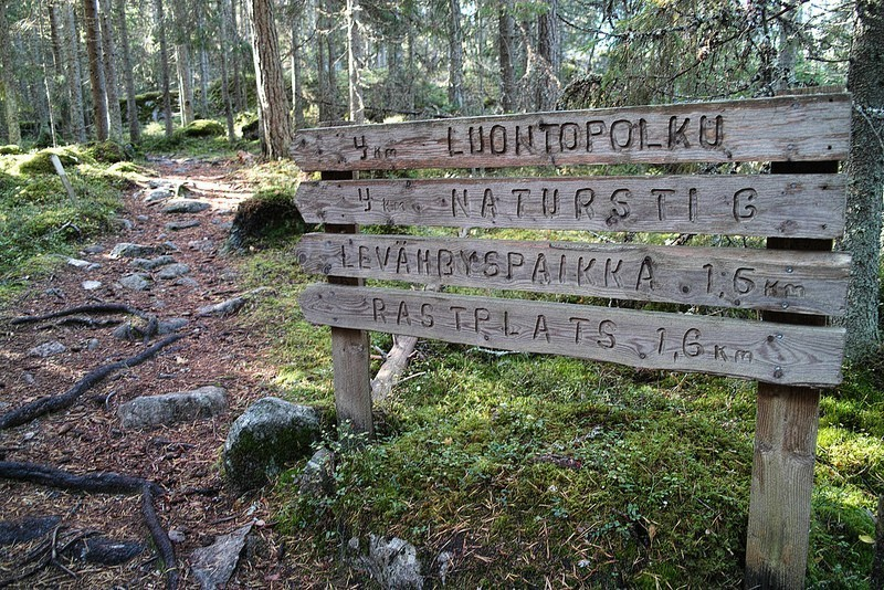 hiking sign in finland
