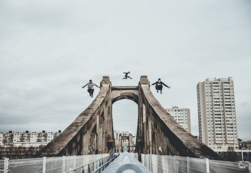 Parkour in Paris, France