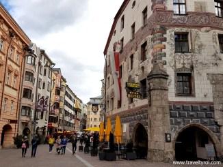 Hotel Goldener Adler in Innsbruck old town.