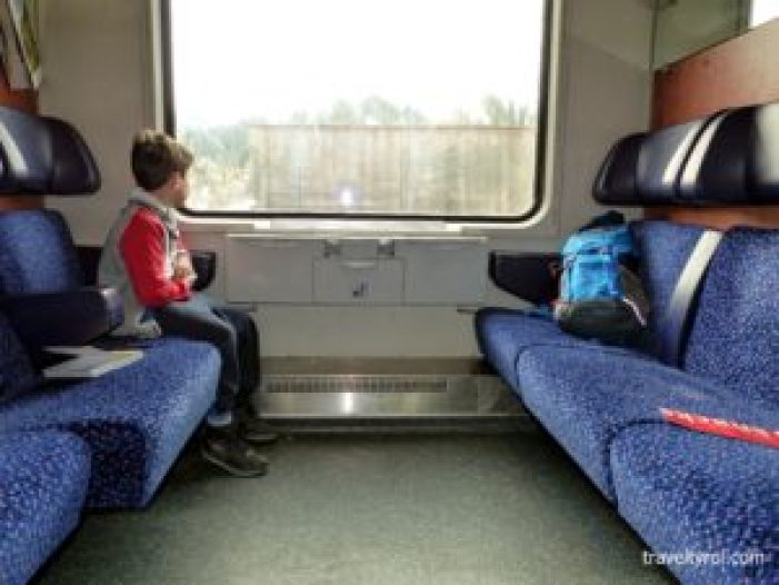 Travelling in comfort in a train in Tyrol.