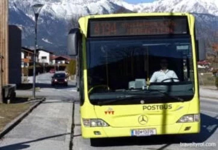 Postbus in Tulfes, Austria.