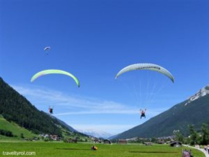 Paragliding in the Stubai in summer.