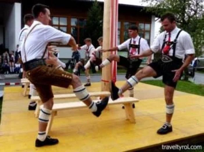 Schuhplattler Tulfes wooden bench performance.