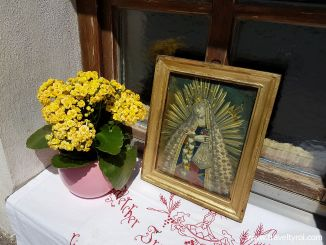 Windowsill along Fronleichnam procession route in Tulfes, Austria.
