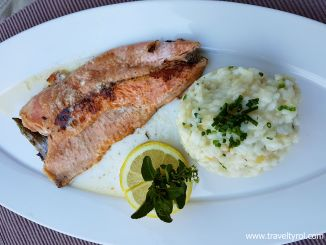 Salmong trout fillet with white wine risotto from Martin's Bistro.