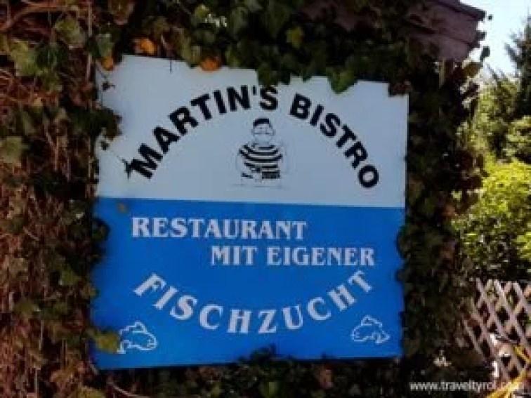 Sign outside Martin's Bistro in Achenkirch, Austria.