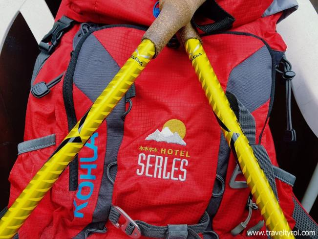 Hiking backpack and poles
